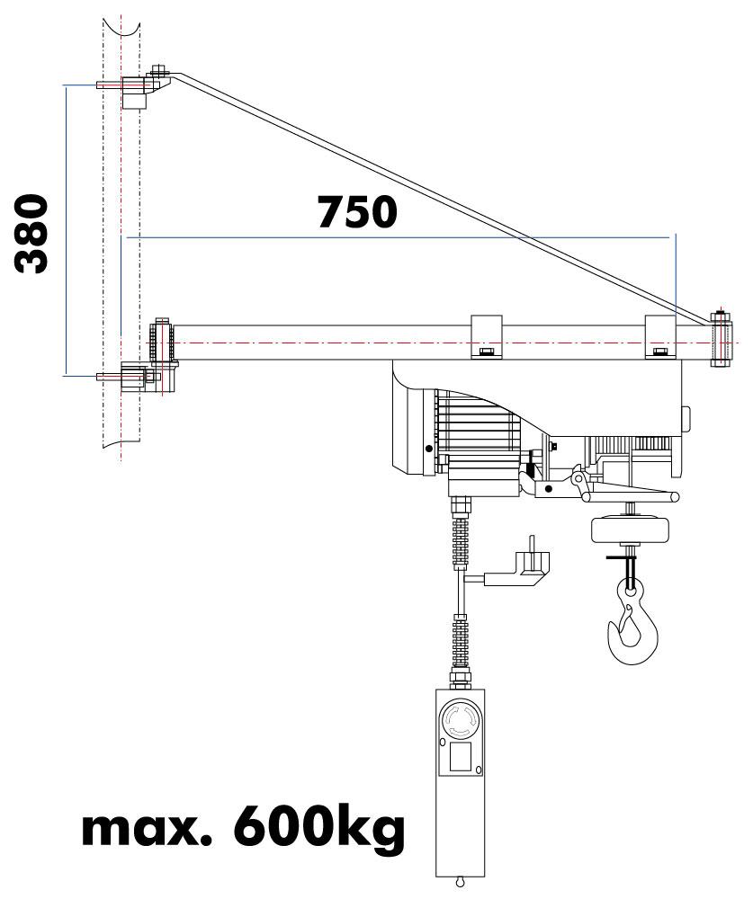 Otočné rameno pro ESZ Holzmann SA600750-1